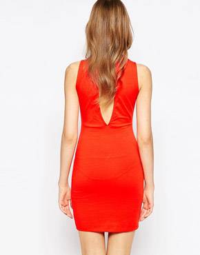 photo Ready Sleeveless High Neck Dress by Blend She, color Flame Scarlett - Image 2