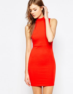 photo Ready Sleeveless High Neck Dress by Blend She, color Flame Scarlett - Image 1
