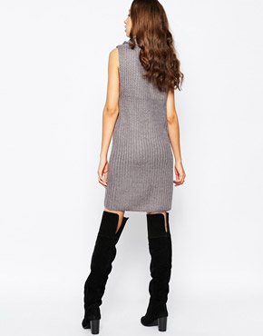 photo Chunky Knit Jumper Dress with Cowl Neck by Brave Soul Tall, color Mid Grey Marl - Image 2