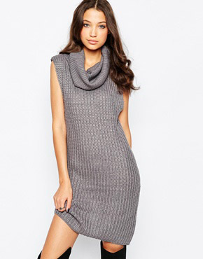 photo Chunky Knit Jumper Dress with Cowl Neck by Brave Soul Tall, color Mid Grey Marl - Image 1
