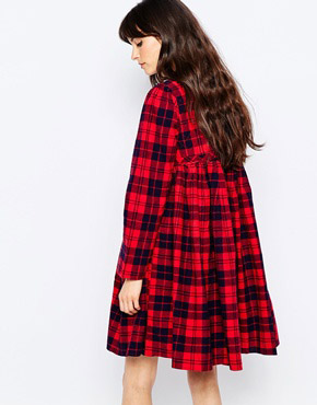 photo Hawke Checked Dress with Tassle Tie by d.RA, color Red Plaid - Image 2