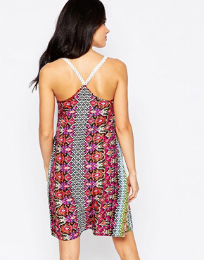photo Dress with Crochet Straps by Diya, color Multi Print - Image 2