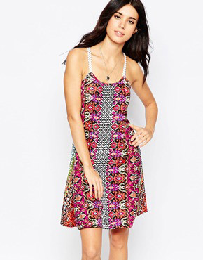 photo Dress with Crochet Straps by Diya, color Multi Print - Image 1