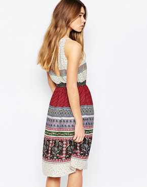photo Halter Neck Dress with Bead Detail by Diya, color Multi - Image 2
