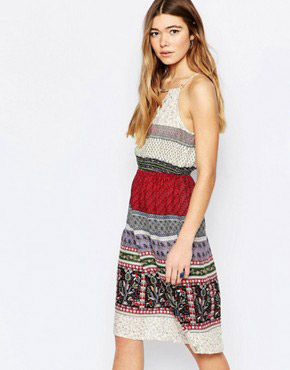 photo Halter Neck Dress with Bead Detail by Diya, color Multi - Image 1