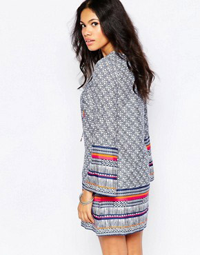 photo Shift Dress with Lace Up Front and Bell Sleeves by Diya, color Blue Printed - Image 2