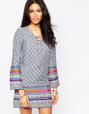 photo Shift Dress with Lace Up Front and Bell Sleeves by Diya, color Blue Printed - Image 1