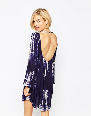 photo Tie Dye Long Sleeve Smock Dress with Open Back by Diya, color navy - Image 2