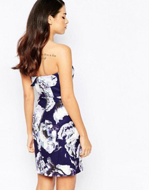 photo Certain Romance Strapless Floral Dress by Finders Keepers, color Blue - Image 2