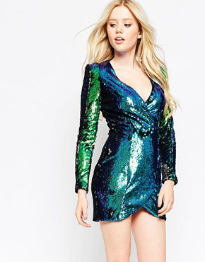 photo Plunge Dress In Iridescent Sequins by Girl in Mind, color Green - Image 1