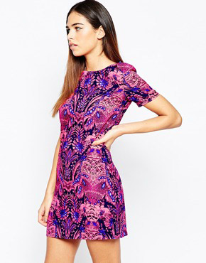photo Printed Shift Dress by Girl in Mind, color Pink - Image 1