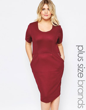 photo Dress with Zip Detail by Goddiva Plus, color Red - Image 1