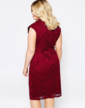 photo Lace Dress with Cut Out Neckline by Goddiva Plus, color Red - Image 2
