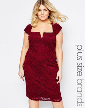 photo Lace Dress with Cut Out Neckline by Goddiva Plus, color Red - Image 1