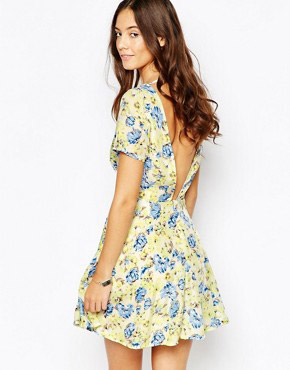 photo Leap Of Faith Skater Dress with Open Back by Goldie, color Yellow Blue - Image 1