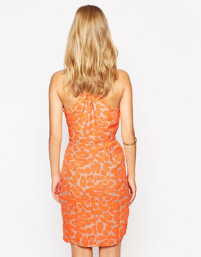 photo V Neck Printed Wrap Dress by Greylin, color Neon Melon - Image 2