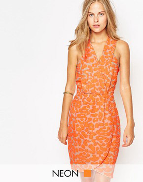 photo V Neck Printed Wrap Dress by Greylin, color Neon Melon - Image 1