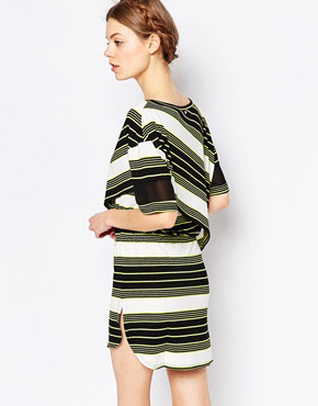 photo Drawstring Dress by Harlyn, color Chartreuse Stripe - Image 2