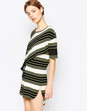 photo Drawstring Dress by Harlyn, color Chartreuse Stripe - Image 1