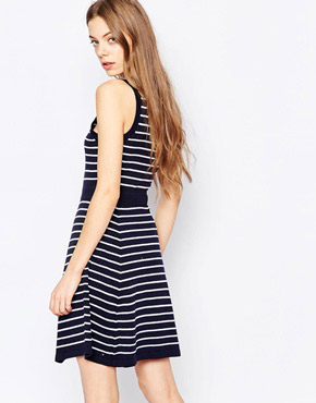 photo Harlyn Fit & Flare Stripe Dress, color Navy Stripe - Image 2