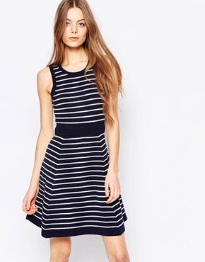 photo Harlyn Fit & Flare Stripe Dress, color Navy Stripe - Image 1