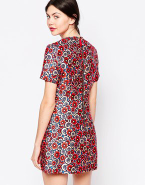photo Multi Floral Zip Front Short Sleeve Dress by House of Holland, color Multi - Image 2
