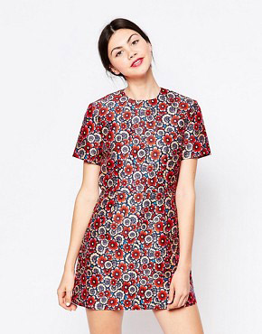 photo Multi Floral Zip Front Short Sleeve Dress by House of Holland, color Multi - Image 1
