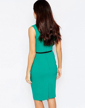 photo Fleur Embellished Midi Dress with Belt by Hybrid, color Emerald Black - Image 2