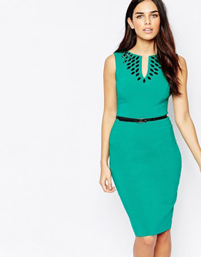 photo Fleur Embellished Midi Dress with Belt by Hybrid, color Emerald Black - Image 1
