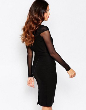 photo Haeley Dress with Messh Sleeves and Lace Back Detail by Hybrid, color Black - Image 2