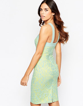 photo Santorini Lace Dress with Criss Cross Front by Hybrid, color Lemon Turquoise - Image 2