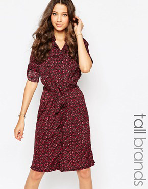 photo Ditsy Print Shirt Dress with Belt by Influence Tall, color Ditsy Print - Image 1