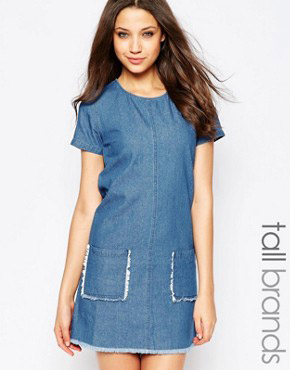photo Raw Edge Detail Shift Dress by Influence Tall, color Light Denim - Image 1