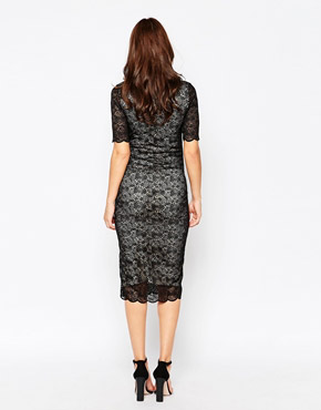 photo Henham Maternity Dress In Lace by Isabella Oliver, color Caviar Black - Image 2