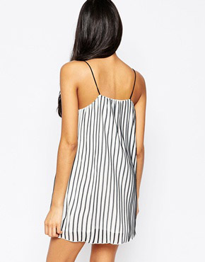 photo Blurred Cami Dress In Stripe by Jovonna, color White - Image 2