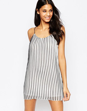 photo Blurred Cami Dress In Stripe by Jovonna, color White - Image 1