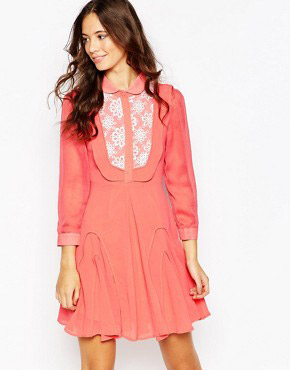 photo Go with The Flow Dress with Crochet Detail by Jovonna Premier, color Watermelon - Image 1