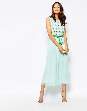 photo Good Times Maxi Dress with Embellished Daisy Top by Jovonna Premier, color Mint - Image 1