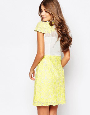photo Head Girl Dress In Lace by Jovonna Premier, color Yellow - Image 2
