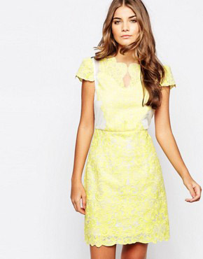 photo Head Girl Dress In Lace by Jovonna Premier, color Yellow - Image 1