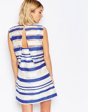photo Road Trip Shift Dress In Stripe by Jovonna, color Blue - Image 2