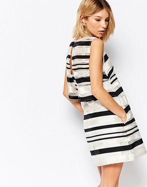 photo Road Trip Shift Dress In Stripe by Jovonna, color Black - Image 2