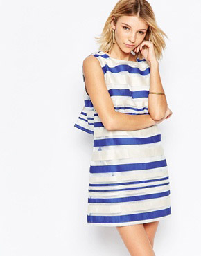 photo Road Trip Shift Dress In Stripe by Jovonna, color Blue - Image 1