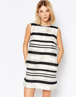 photo Road Trip Shift Dress In Stripe by Jovonna, color Black - Image 1