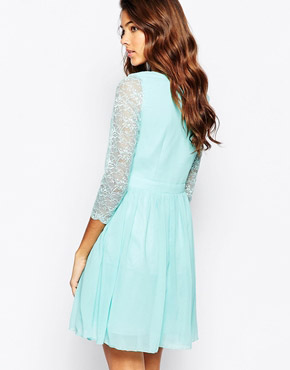 photo Cross Front Skater Dress with Lace Sleeves by Laced In Love, color Aqua - Image 2