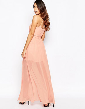 photo Maxi Dress with Overlay Skirt by Laced In Love, color Peach - Image 2