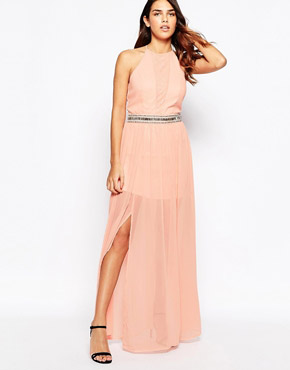 photo Maxi Dress with Overlay Skirt by Laced In Love, color Peach - Image 1