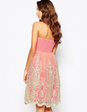 photo Prom Dress with Lace Hem by Laced In Love, color Cream Coral - Image 2