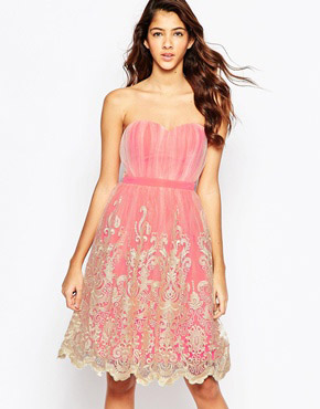 photo Prom Dress with Lace Hem by Laced In Love, color Cream Coral - Image 1