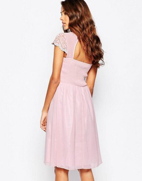 photo Skate Dress with Lace Overlay by Laced In Love, color Pink - Image 2
